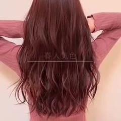 ナチュラル ピンク ロング ピンクバイオレット ヘアスタイルや髪型の写真・画像