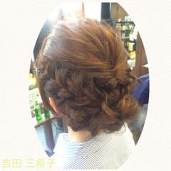 くるりんぱ ヘアアレンジ 結婚式 ミディアム ヘアスタイルや髪型の写真・画像