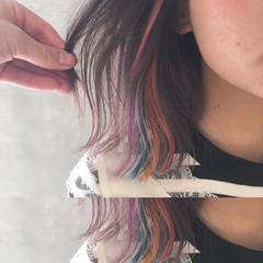 黒髪 ボブ フリンジバング インナーカラー ヘアスタイルや髪型の写真・画像