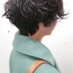 ボブ マッシュショート ナチュラル パーマ ヘアスタイルや髪型の写真・画像