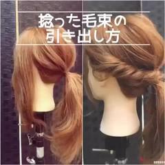 ガーリー ミディアム ねじり 簡単ヘアアレンジ ヘアスタイルや髪型の写真・画像