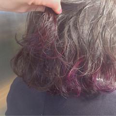 インナーカラー ボブ ストリート ハイライト ヘアスタイルや髪型の写真・画像