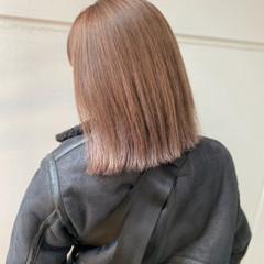 バレイヤージュ ピンクラベンダー ミディアム ナチュラル ヘアスタイルや髪型の写真・画像