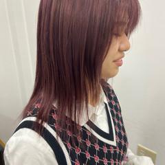 モーブ シアー ナチュラル ピンクグレージュ ヘアスタイルや髪型の写真・画像