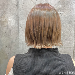 ボブ ナチュラル ミルクティーベージュ ミルクティーグレージュ ヘアスタイルや髪型の写真・画像