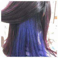 カラーバター セミロング インナーカラー ヘアマニキュア ヘアスタイルや髪型の写真・画像
