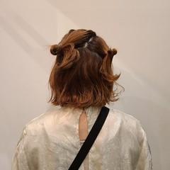 結婚式ヘアアレンジ 簡単ヘアアレンジ 外ハネボブ お団子アレンジ ヘアスタイルや髪型の写真・画像