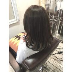 大人かわいい ハイライト セミロング グラデーションカラー ヘアスタイルや髪型の写真・画像