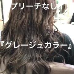 大人かわいい モード ロング アッシュグレージュ ヘアスタイルや髪型の写真・画像