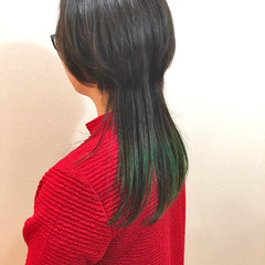 エメラルドグリーンカラー モード グリーン グラデーションカラー ヘアスタイルや髪型の写真・画像