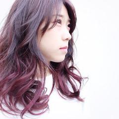 ピンク ナチュラル グラデーションカラー パープル ヘアスタイルや髪型の写真・画像