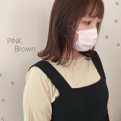 大人女子 ミディアム 大人かわいい ピンクブラウン ヘアスタイルや髪型の写真・画像