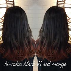 セミロング グラデーションカラー ガーリー ナチュラル可愛い ヘアスタイルや髪型の写真・画像