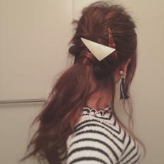ヘアアレンジ ローポニーテール くるりんぱ ロング ヘアスタイルや髪型の写真・画像