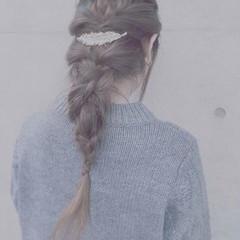 バレッタ 編み込み くるりんぱ ロング ヘアスタイルや髪型の写真・画像