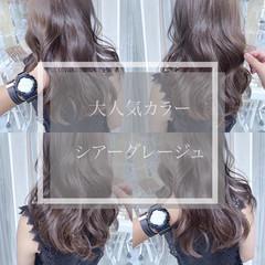 透明感カラー ロング グレーアッシュ グレージュ ヘアスタイルや髪型の写真・画像