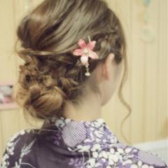 夏 セミロング 簡単ヘアアレンジ お祭り ヘアスタイルや髪型の写真・画像