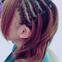 編み込み コーンロウ モード ミディアム ヘアスタイルや髪型の写真・画像