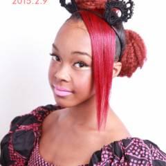 ヘアアレンジ ガーリー パーティ セミロング ヘアスタイルや髪型の写真・画像