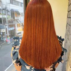 オレンジベージュ ブリーチ無し オレンジ オレンジカラー ヘアスタイルや髪型の写真・画像