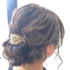 ミディアム 簡単ヘアアレンジ ガーリー 結婚式 ヘアスタイルや髪型の写真・画像
