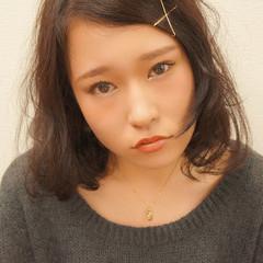暗髪 簡単ヘアアレンジ ボブ 黒髪 ヘアスタイルや髪型の写真・画像