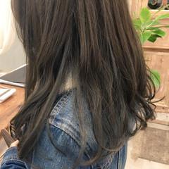 透明感 秋 アッシュ セミロング ヘアスタイルや髪型の写真・画像
