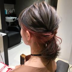 ガーリー ボブ インナーカラー レッド ヘアスタイルや髪型の写真・画像