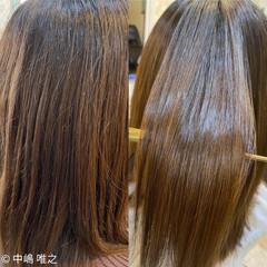 ナチュラル 髪質改善カラー クセ 艶髪 ヘアスタイルや髪型の写真・画像