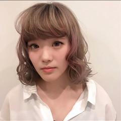 ロブ 個性的 アンニュイ ゆるふわ ヘアスタイルや髪型の写真・画像