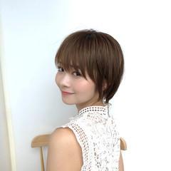 流し前髪 ショート 大人かわいい モテ髪 ヘアスタイルや髪型の写真・画像