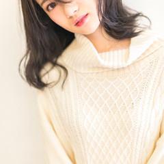 ミディアム 大人かわいい フェミニン 冬 ヘアスタイルや髪型の写真・画像