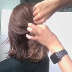 アッシュ 透明感 ミディアム ヘアアレンジ ヘアスタイルや髪型の写真・画像
