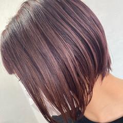 ピンク ブリーチカラー ショートボブ ピンクラベンダー ヘアスタイルや髪型の写真・画像