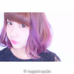 カラーバター ピンク ブラウン パープル ヘアスタイルや髪型の写真・画像