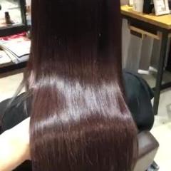 ストレート ロング ピンクアッシュ サイエンスアクア ヘアスタイルや髪型の写真・画像