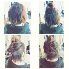 ショート ボブ お団子 ヘアアレンジ ヘアスタイルや髪型の写真・画像