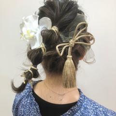 ヘアセット ミディアム 卒業式 袴 ヘアスタイルや髪型の写真・画像