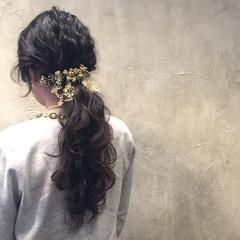 パーティ ヘアアレンジ 波ウェーブ 結婚式 ヘアスタイルや髪型の写真・画像