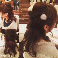 フェミニン ヘアアレンジ ハーフアップ セミロング ヘアスタイルや髪型の写真・画像