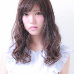 フェミニン セミロング モテ髪 透明感 ヘアスタイルや髪型の写真・画像