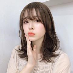 レイヤーカット セミロング モテ髪 韓国風ヘアー ヘアスタイルや髪型の写真・画像