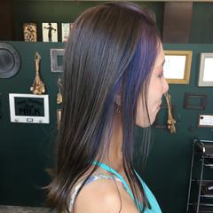 ストリート パープル セミロング インナーカラー ヘアスタイルや髪型の写真・画像