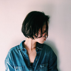 ショート ボブ 暗髪 ナチュラル ヘアスタイルや髪型の写真・画像