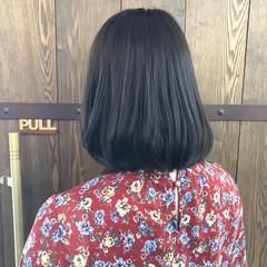 ボブ 暗髪 夏 ナチュラル ヘアスタイルや髪型の写真・画像