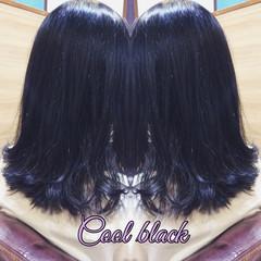 セミロング ブルーブラック ナチュラル可愛い ダークカラー ヘアスタイルや髪型の写真・画像