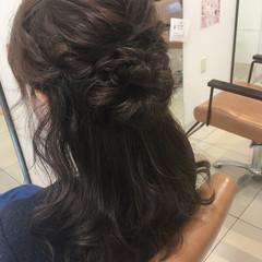 フェミニン 簡単ヘアアレンジ ヘアアレンジ セミロング ヘアスタイルや髪型の写真・画像