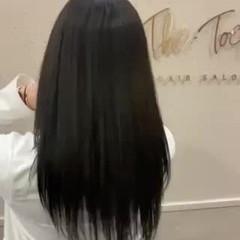 可愛い 艶髪 セミロング ナチュラル ヘアスタイルや髪型の写真・画像