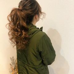 フェミニン ヘアセット ロング ポニーテールアレンジ ヘアスタイルや髪型の写真・画像