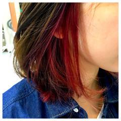 ピンク ミディアム ストリート インナーカラー ヘアスタイルや髪型の写真・画像